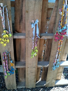 Photo: these upcycled fabric necklaces made by a St. Paul artist are seriously cute and my new favorites!  only 2 more days until our pop-up shop...